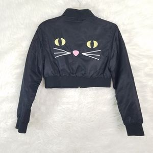 Lazy Oaf Kitty Boom Bomber cropped Jacket SMALL